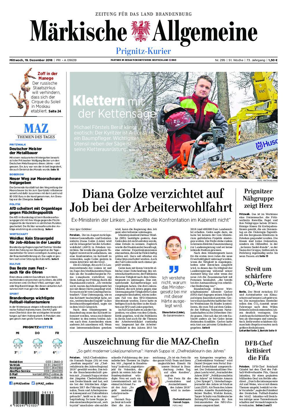 Märkische Allgemeine Prignitz Kurier - 19. Dezember 2018