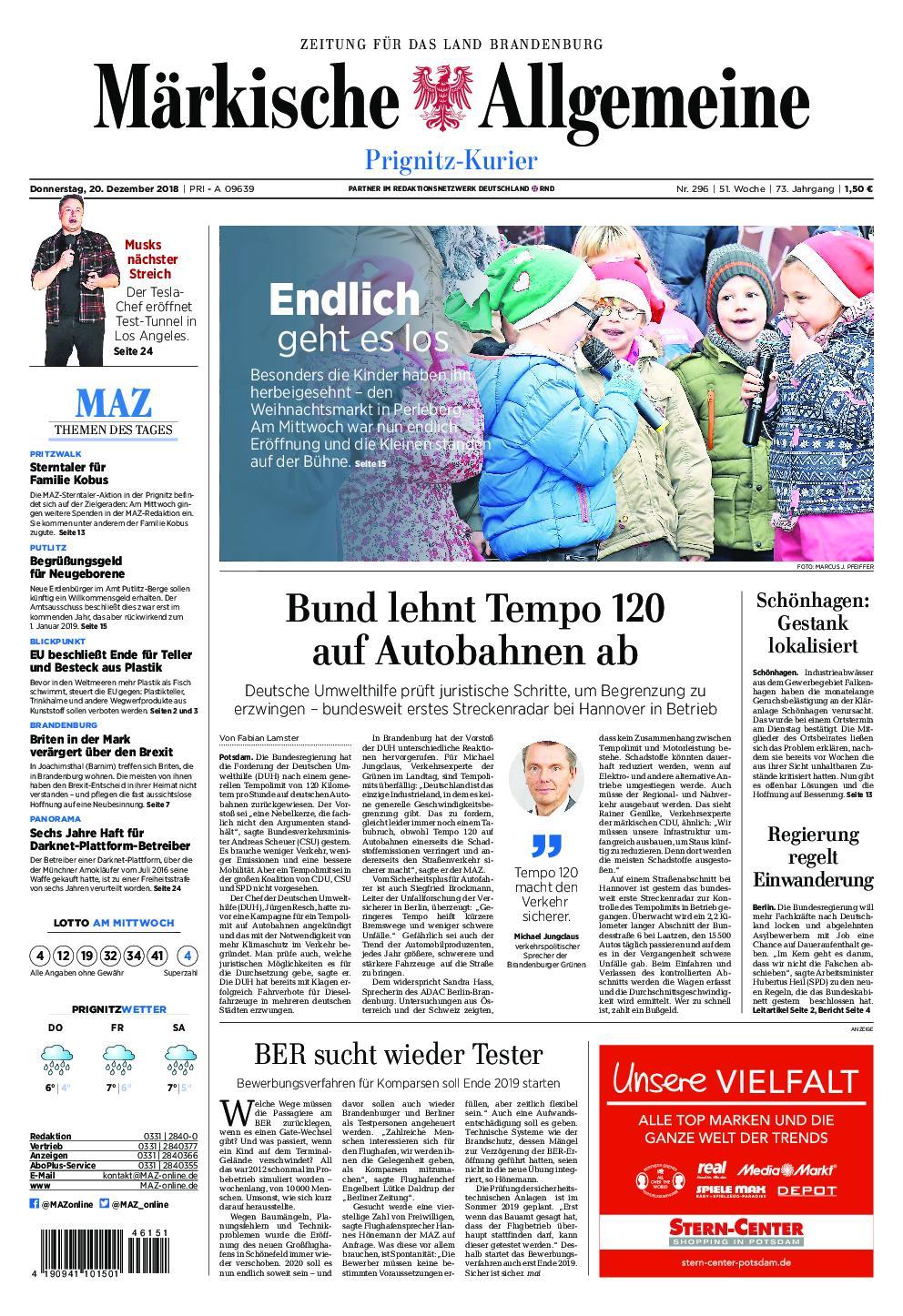 Märkische Allgemeine Prignitz Kurier - 20. Dezember 2018