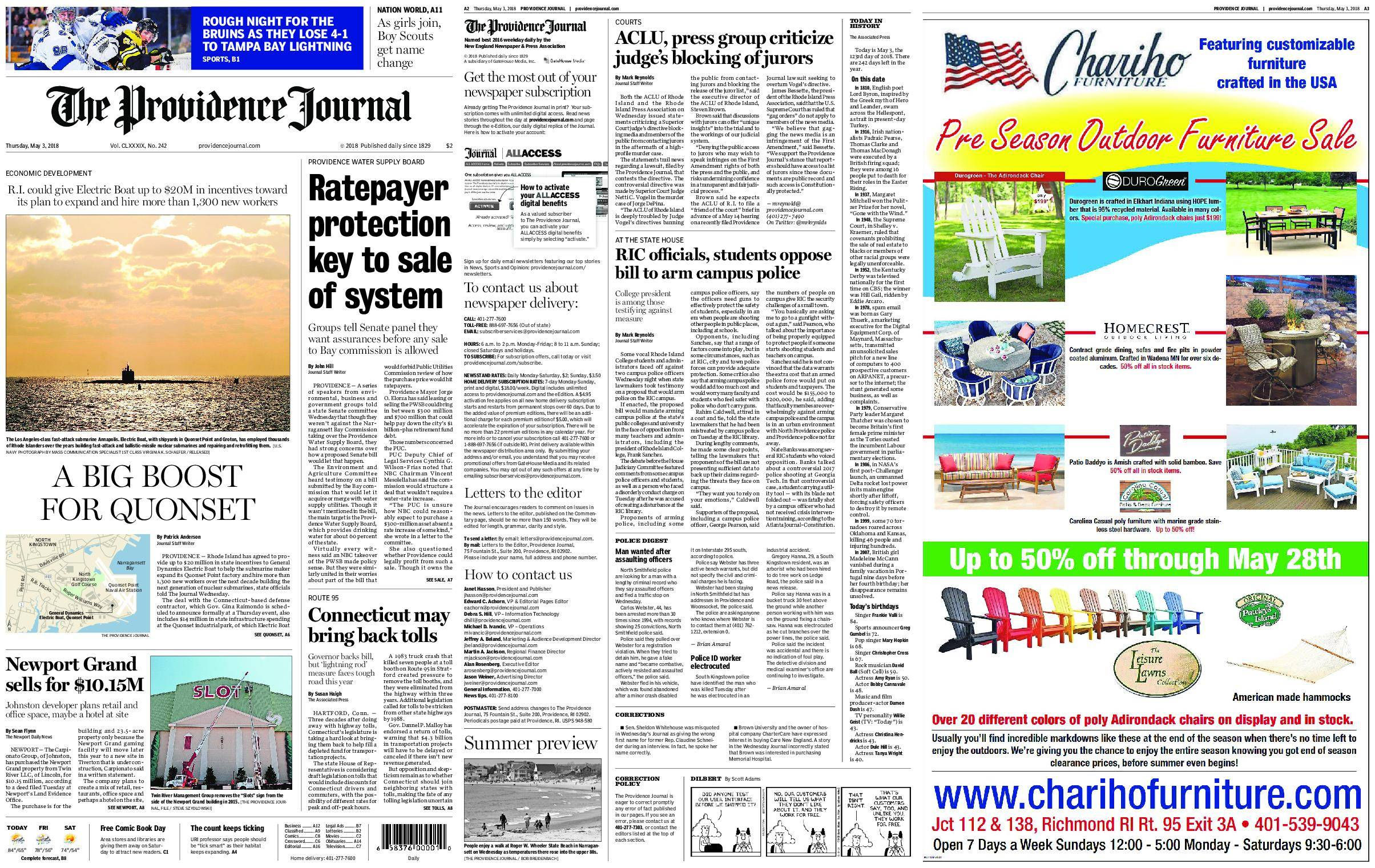 The Providence Journal – May 03, 2018 / AvaxHome