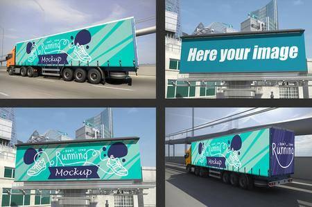CreativeMarket - Truck and Billboard Mockup