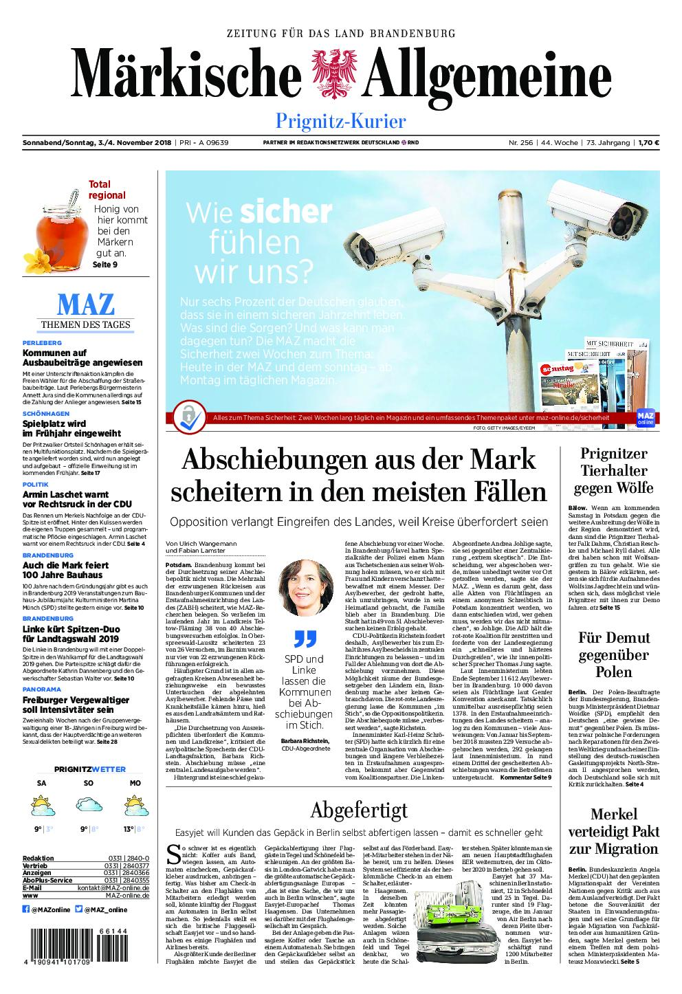 Märkische Allgemeine Prignitz Kurier - 03. November 2018