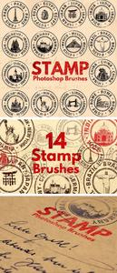 14 Rubber Stamp Photoshop Brushes