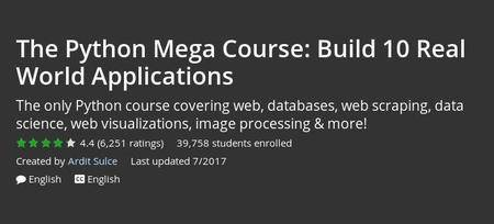 Udemy - The Python Mega Course: Build 10 Real World Applications