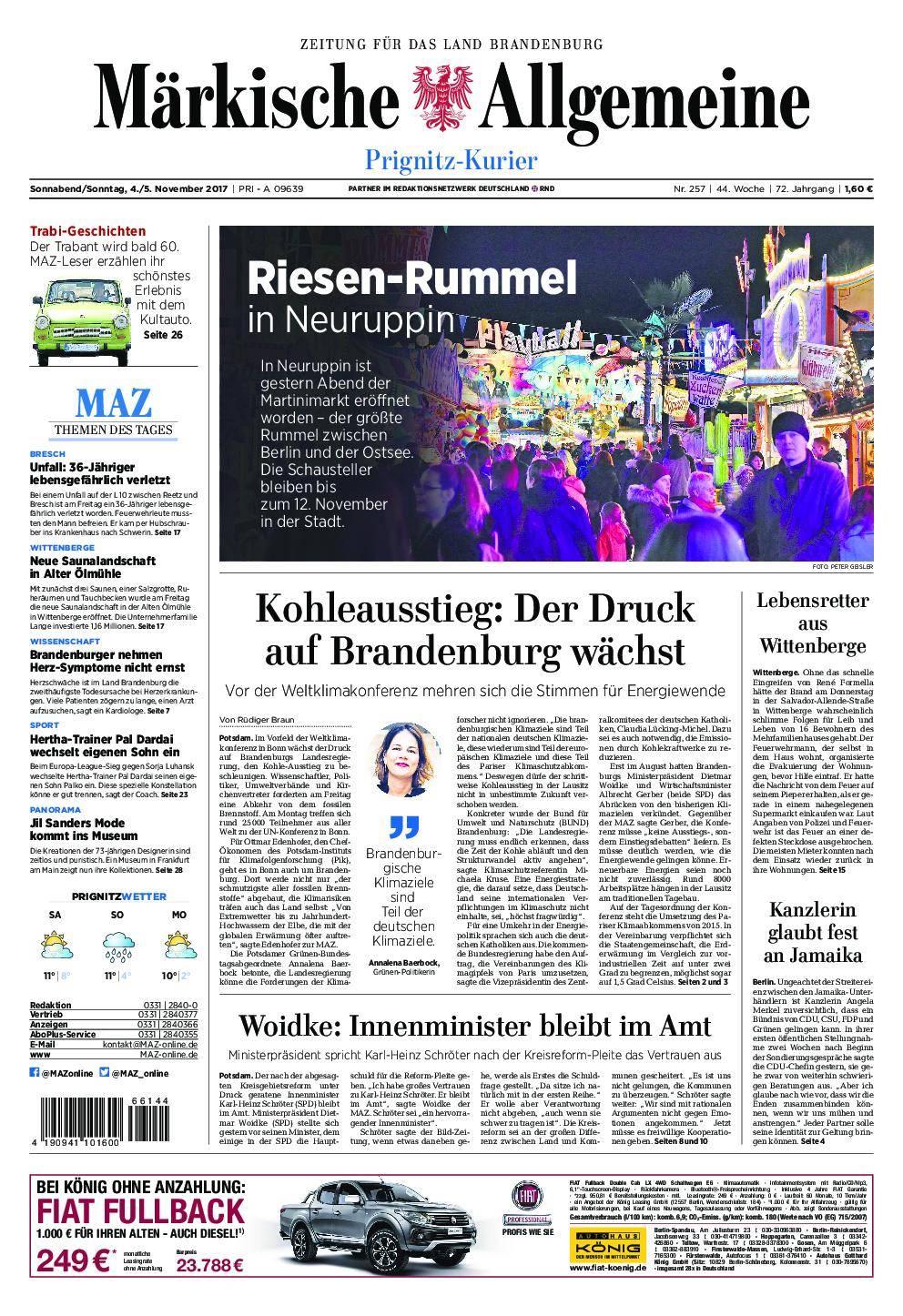 Märkische Allgemeine Prignitz Kurier - 04. November 2017
