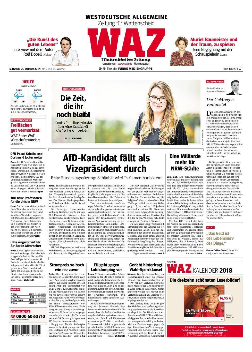 WAZ Westdeutsche Allgemeine Zeitung Wattenscheid - 25. Oktober 2017