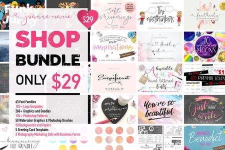CreativeMarket Shop Bundle - Fonts, Logos, Patterns 3110842