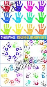 Stock Photo: Colorful handprints