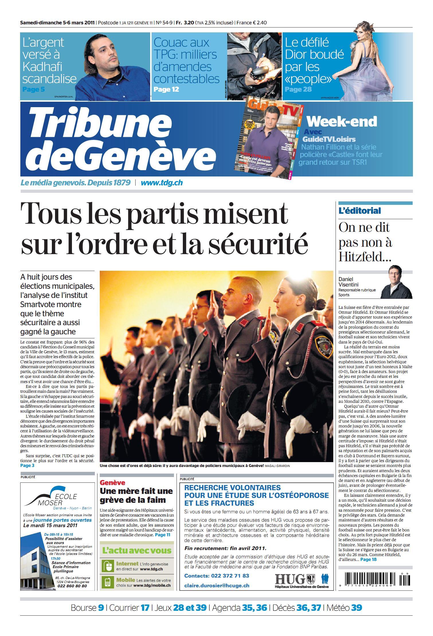 TRIBUNE DE GENEVE  03 04 05 06 Mars 2011