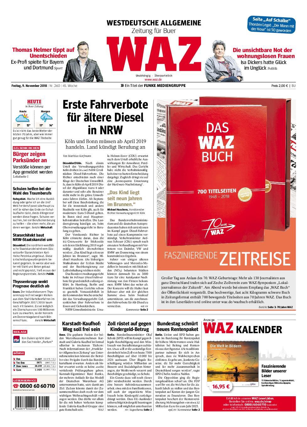 WAZ Westdeutsche Allgemeine Zeitung Buer - 09. November 2018