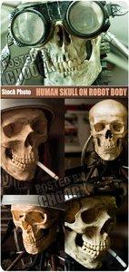 Stock Photo: Human skull on robot body
