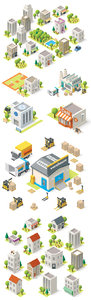 Isometric Buildings Icons Vector