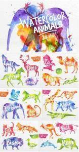 CreativeMarket - Watercolor Animals