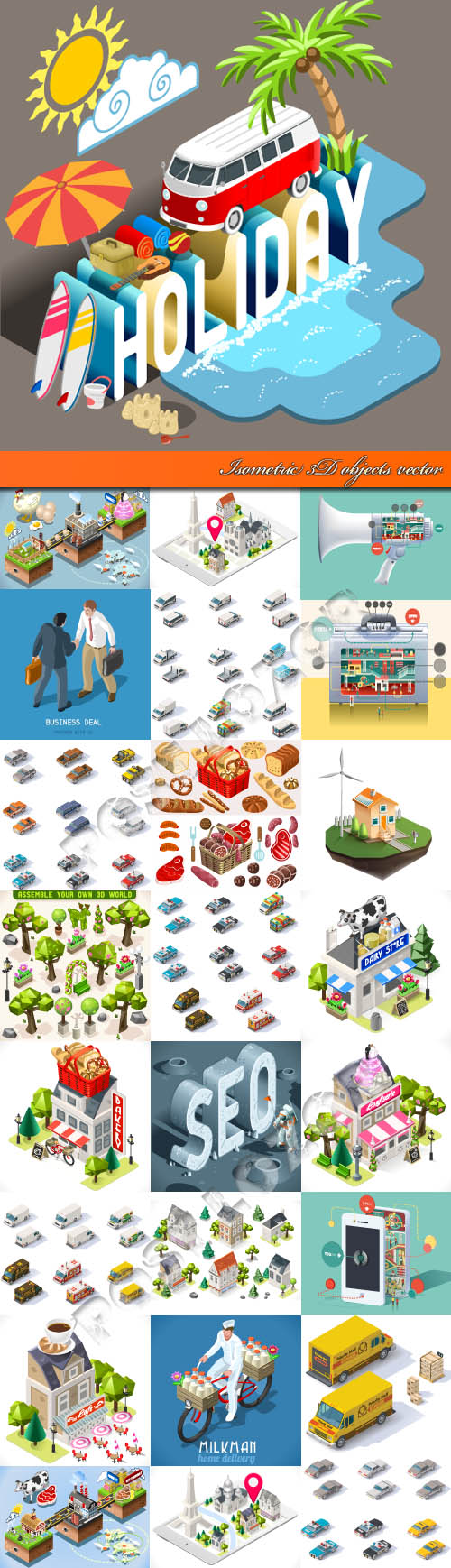 Isometric 3D objects vector