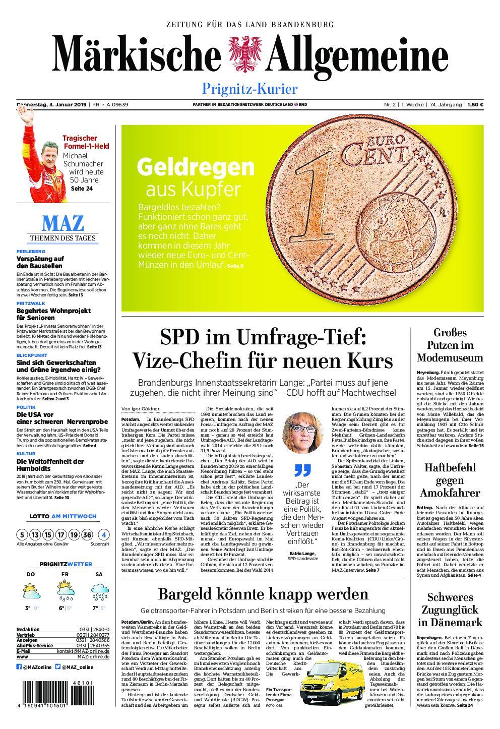 Märkische Allgemeine Prignitz Kurier - 03. Januar 2019