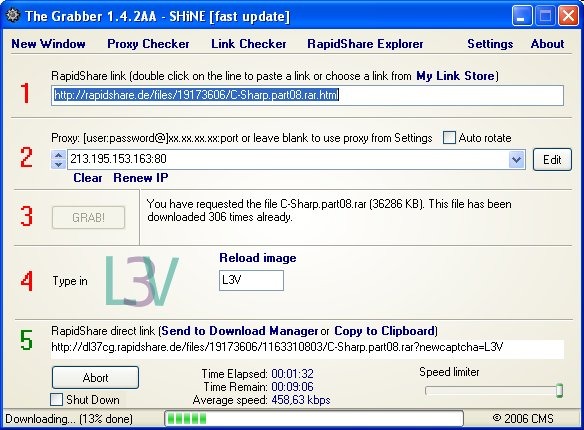 RapidShare Grabber new update 29-04-2006