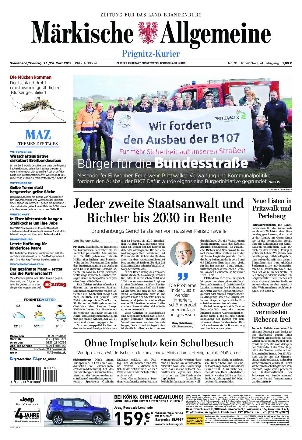 Märkische Allgemeine Prignitz Kurier - 23. März 2019