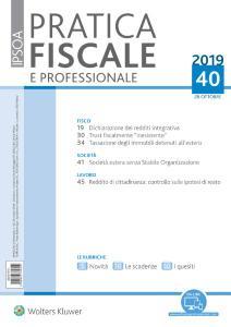 Pratica Fiscale e Professionale N.40 - 28 Ottobre 2019