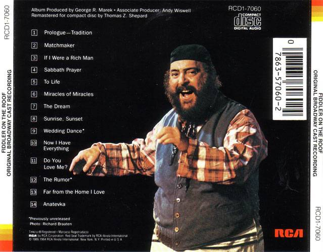 VA - Fiddler On The Roof (Original Broadway Cast Recording) (1964) {1986 RCA Red Seal} **[RE-UP]**
