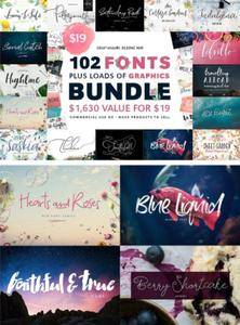 CreativeMarket - 102 Fonts & Graphics Bundle