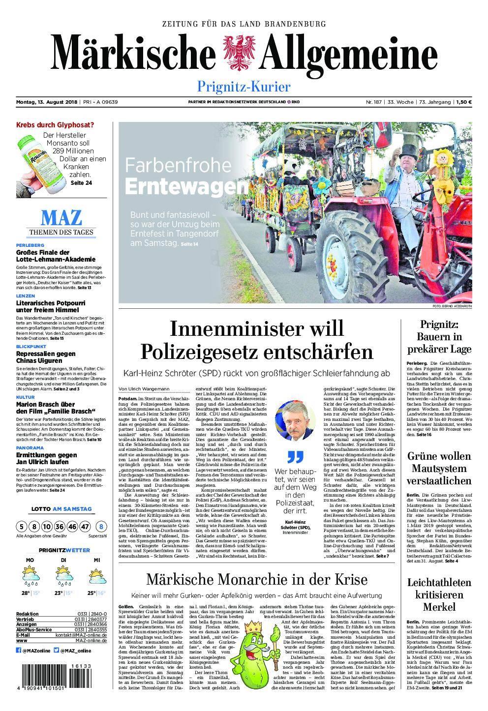 Märkische Allgemeine Prignitz Kurier - 13. August 2018