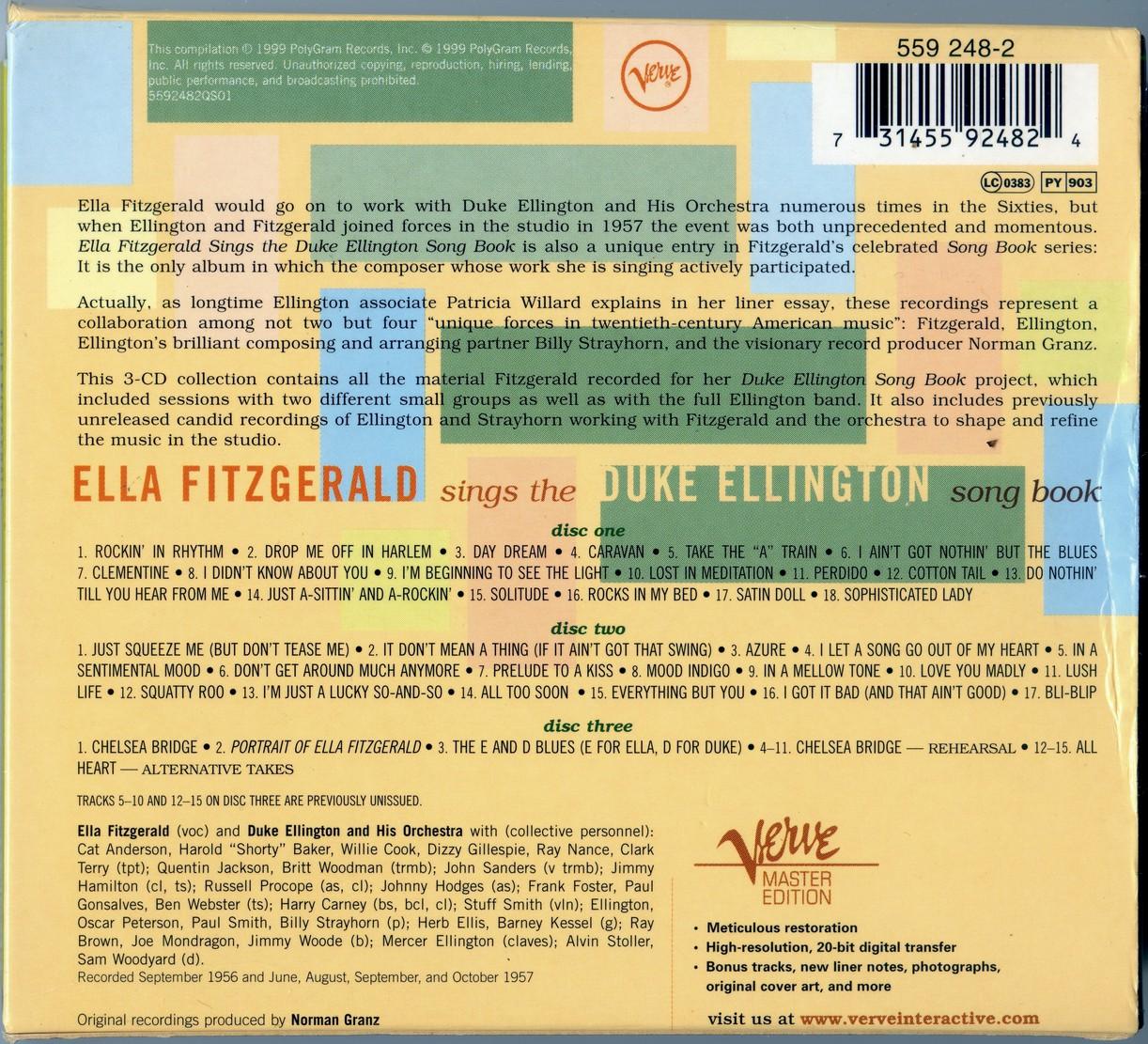 Ella Fitzgerald - Ella Fitzgerald Sings The Duke Ellington Song Book (1957) {3CD Set Verve Master Edition 559 248-2 rel 1999}