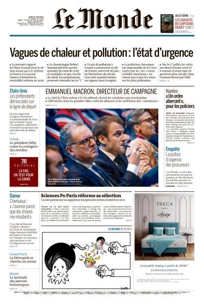Le Monde du Jeudi 27 Juin 2019