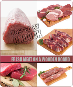 Stock Photo: Fresh meat on a wooden board
