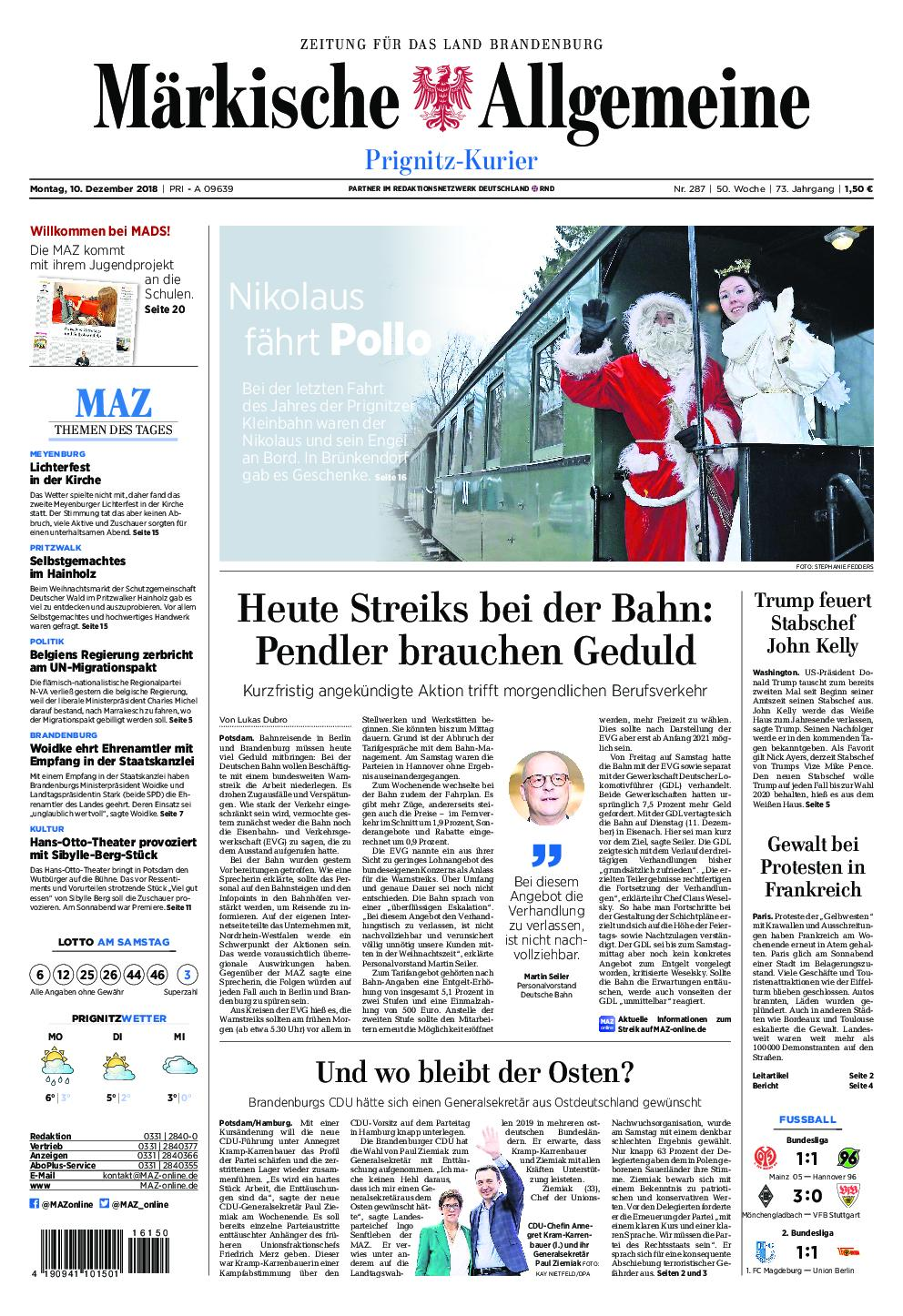 Märkische Allgemeine Prignitz Kurier - 10. Dezember 2018