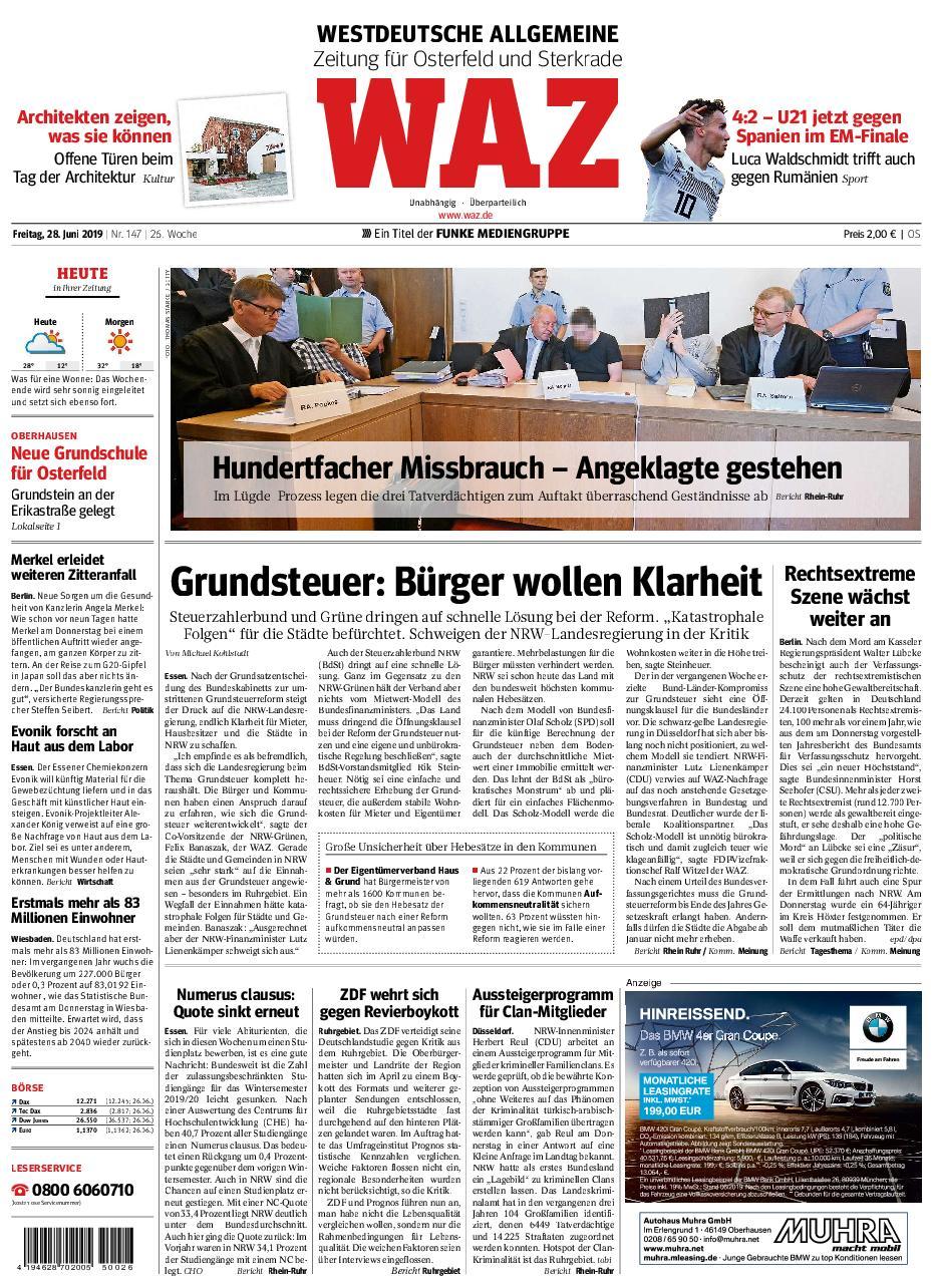WAZ Westdeutsche Allgemeine Zeitung Oberhausen-Sterkrade - 28. Juni 2019