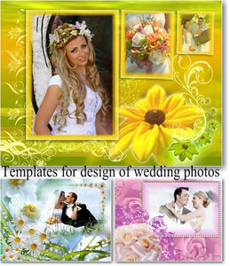Templates for design of wedding photos