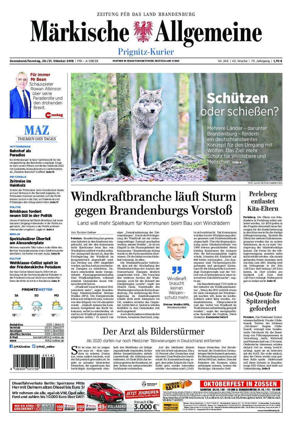 Märkische Allgemeine Prignitz Kurier - 20. Oktober 2018