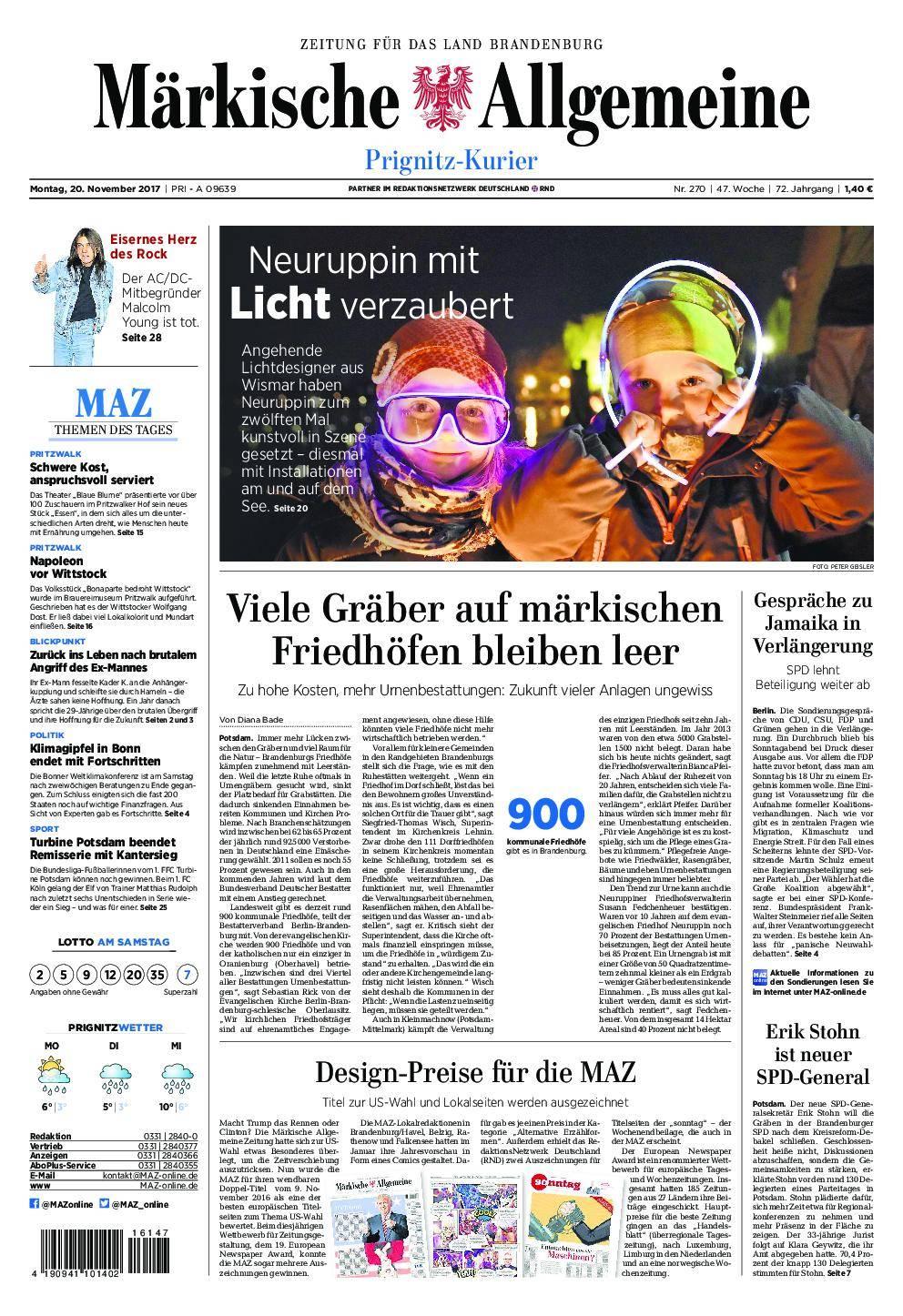 Märkische Allgemeine Prignitz Kurier - 20. November 2017