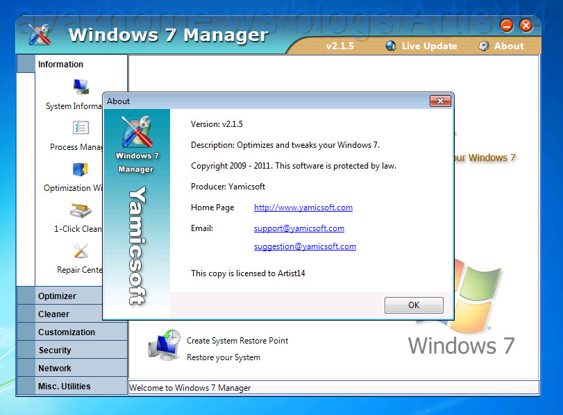 Yamicsoft Windows 7 Manager v2.1.5 (x86 / x64)