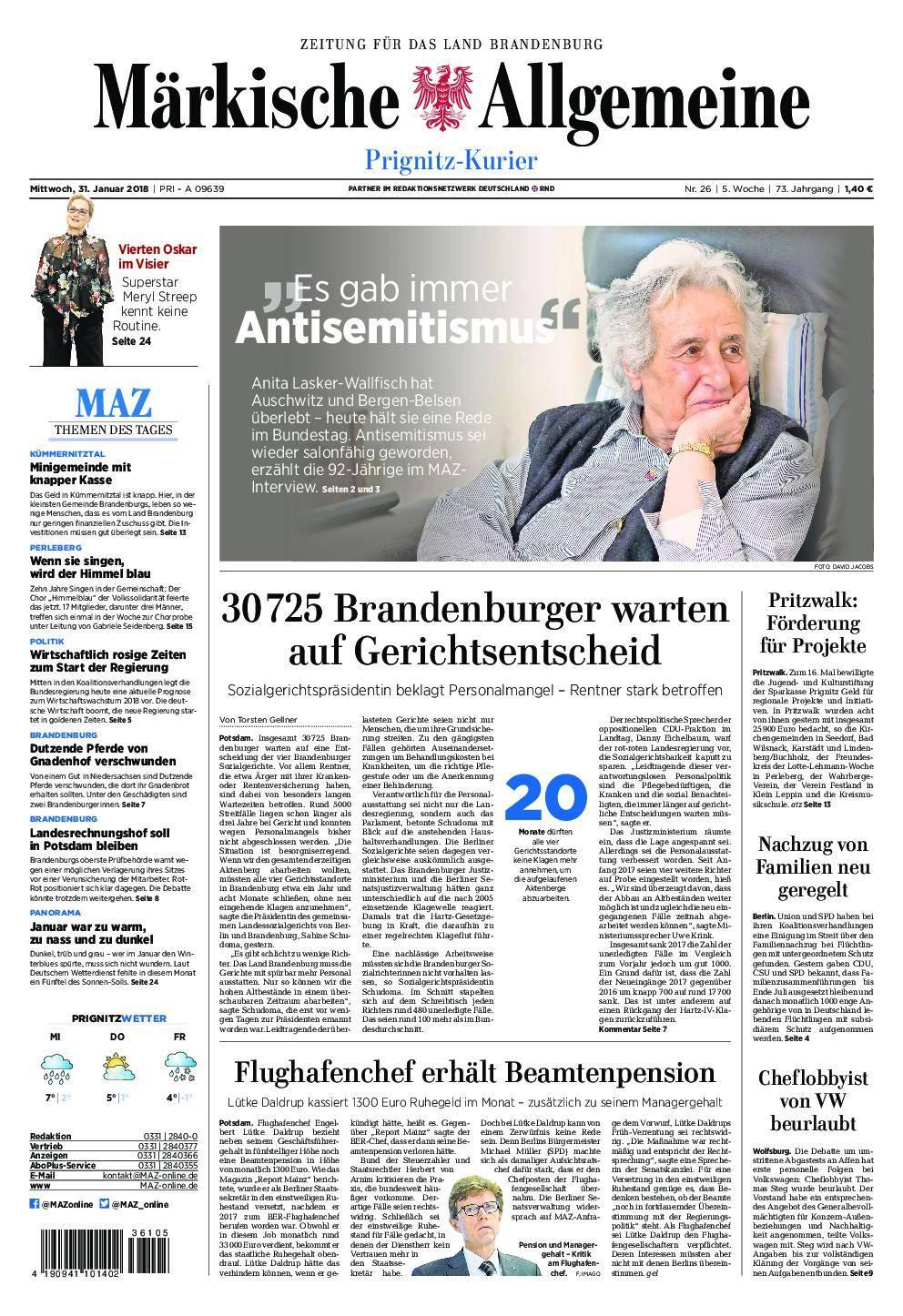 Märkische Allgemeine Prignitz Kurier - 31. Januar 2018