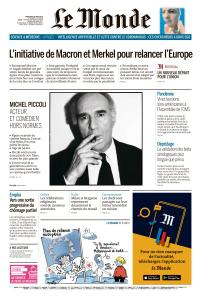 Le Monde du Mercredi 20 Mai 2020