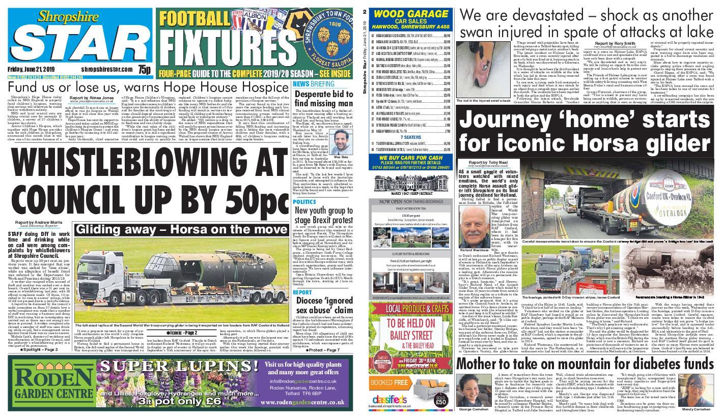 Shropshire Star Shrewsbury Edition – June 21, 2019