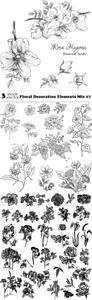 Vectors - Floral Decoration Elements Mix 17