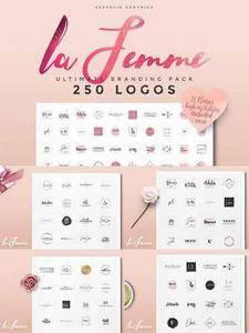 CreativeMarket - 250 Feminine Logo Branding Pack