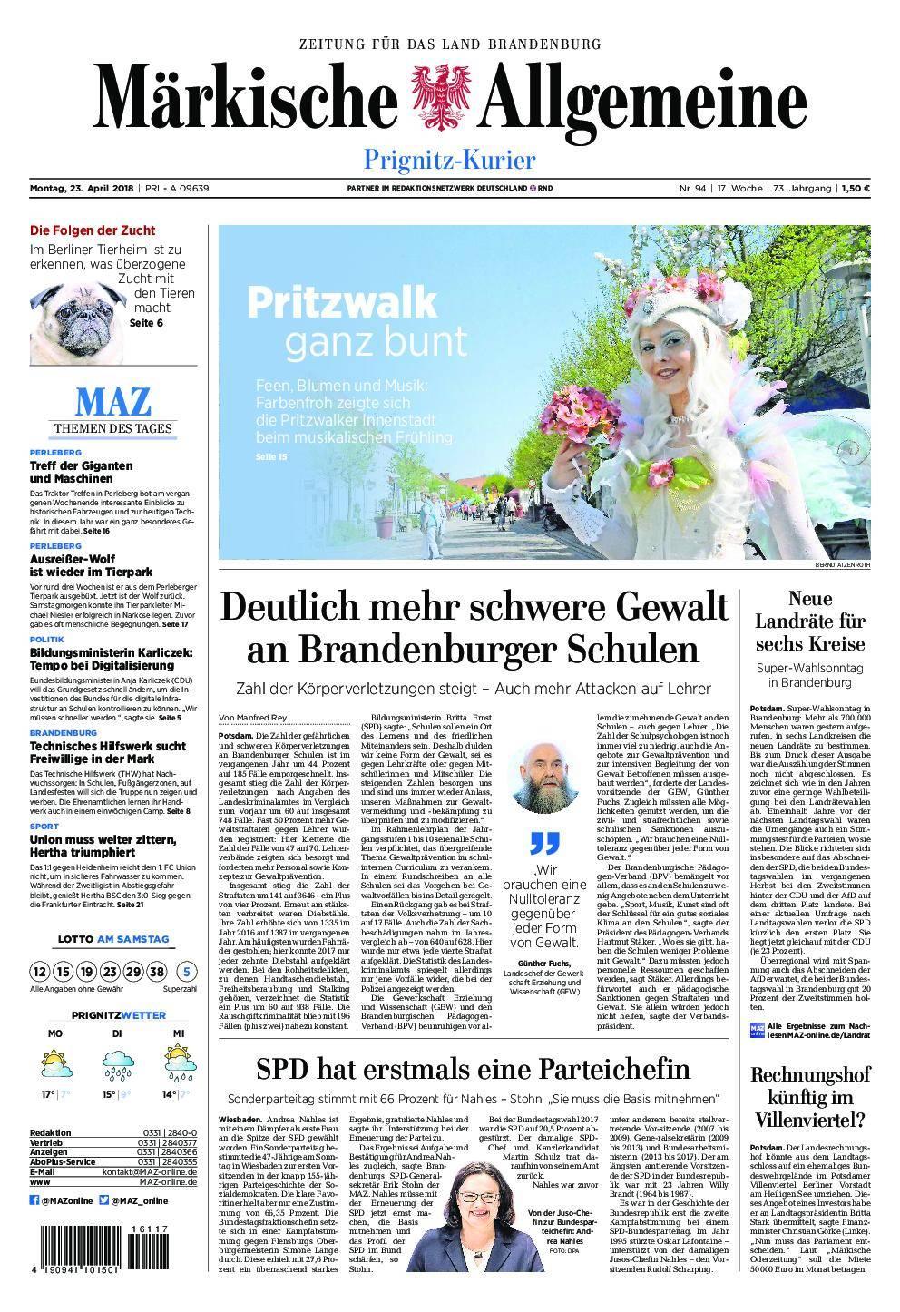 Märkische Allgemeine Prignitz Kurier - 23. April 2018