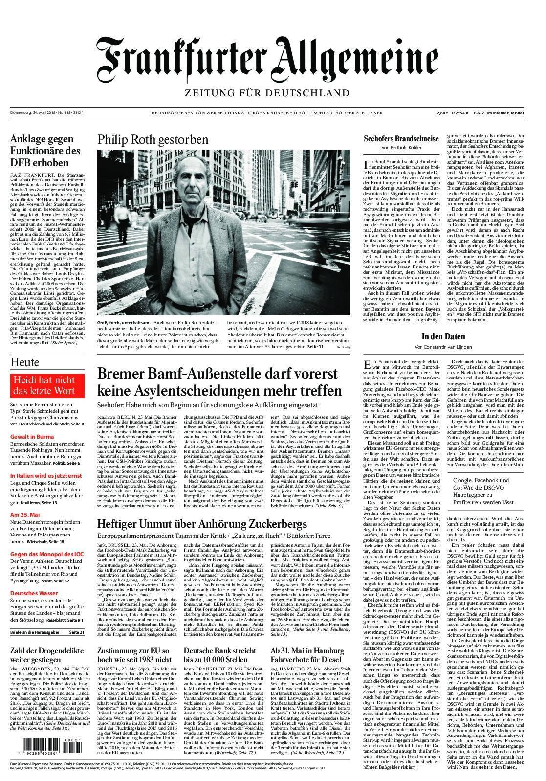 Frankfurter Allgemeine Zeitung F.A.Z. - 24. Mai 2018