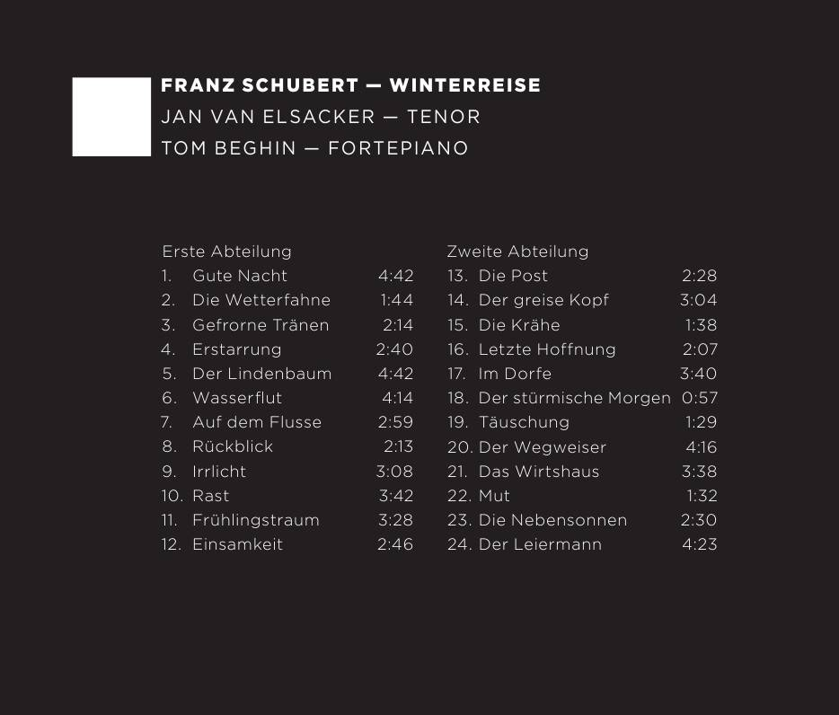 Jan van Elsacker, Tom Beghin - Franz Schubert: Winterreise (2014)
