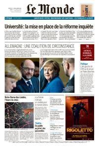 Le Monde du Dimanche 14 et Lundi 15 Janvier 2018