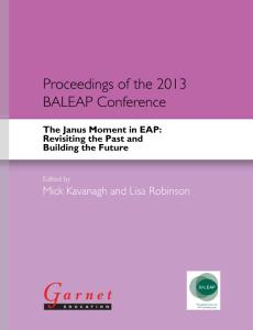 The Janus Moment in EAP Revisiting the Past and Building the Future - Proceedings of the 2013 BAL...