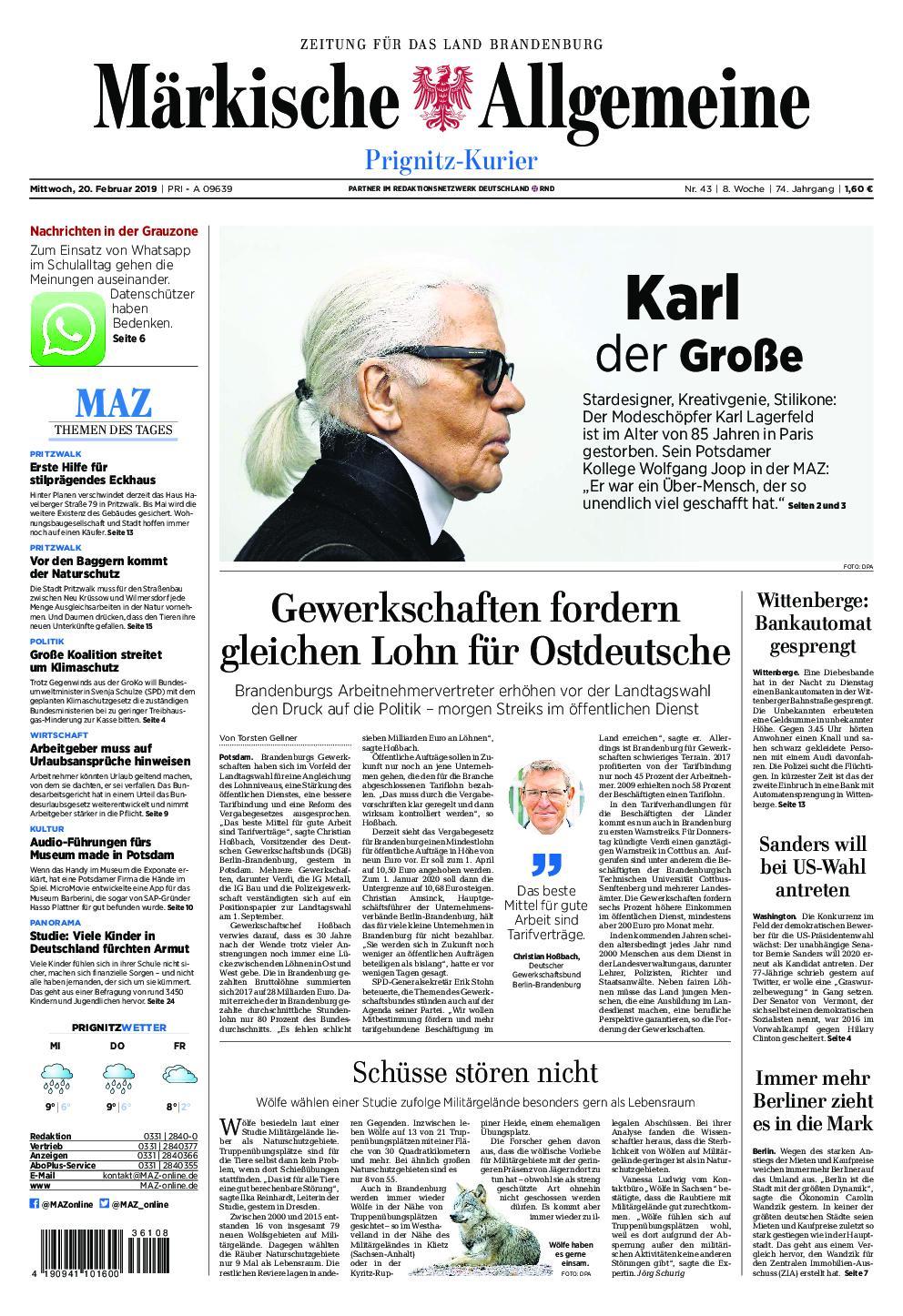 Märkische Allgemeine Prignitz Kurier - 20. Februar 2019