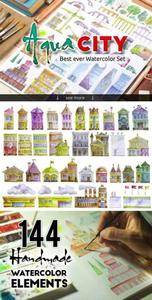 CreativeMarket - Watercolor set AQUA CITY Constructor