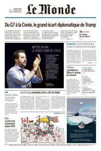 Le Monde du Mardi 12 Juin 2018