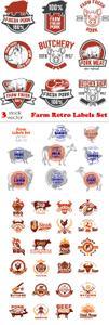 Vectors - Farm Retro Labels Set