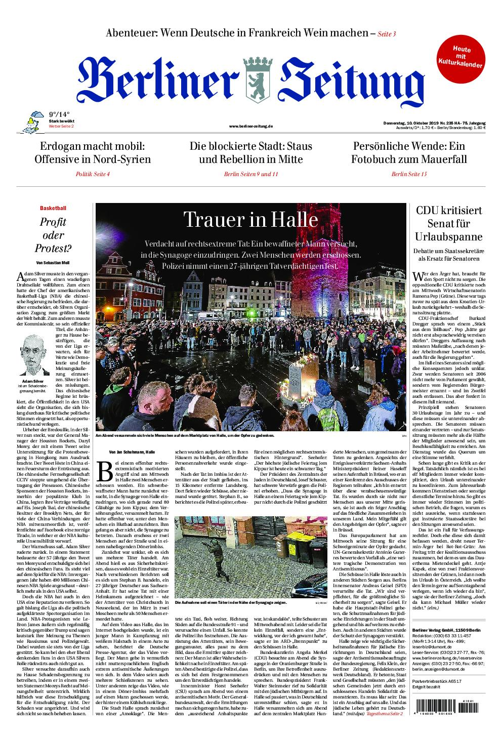 Berliner Zeitung – 10. octobre 2019