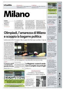 la Repubblica Milano - 2 Agosto 2018