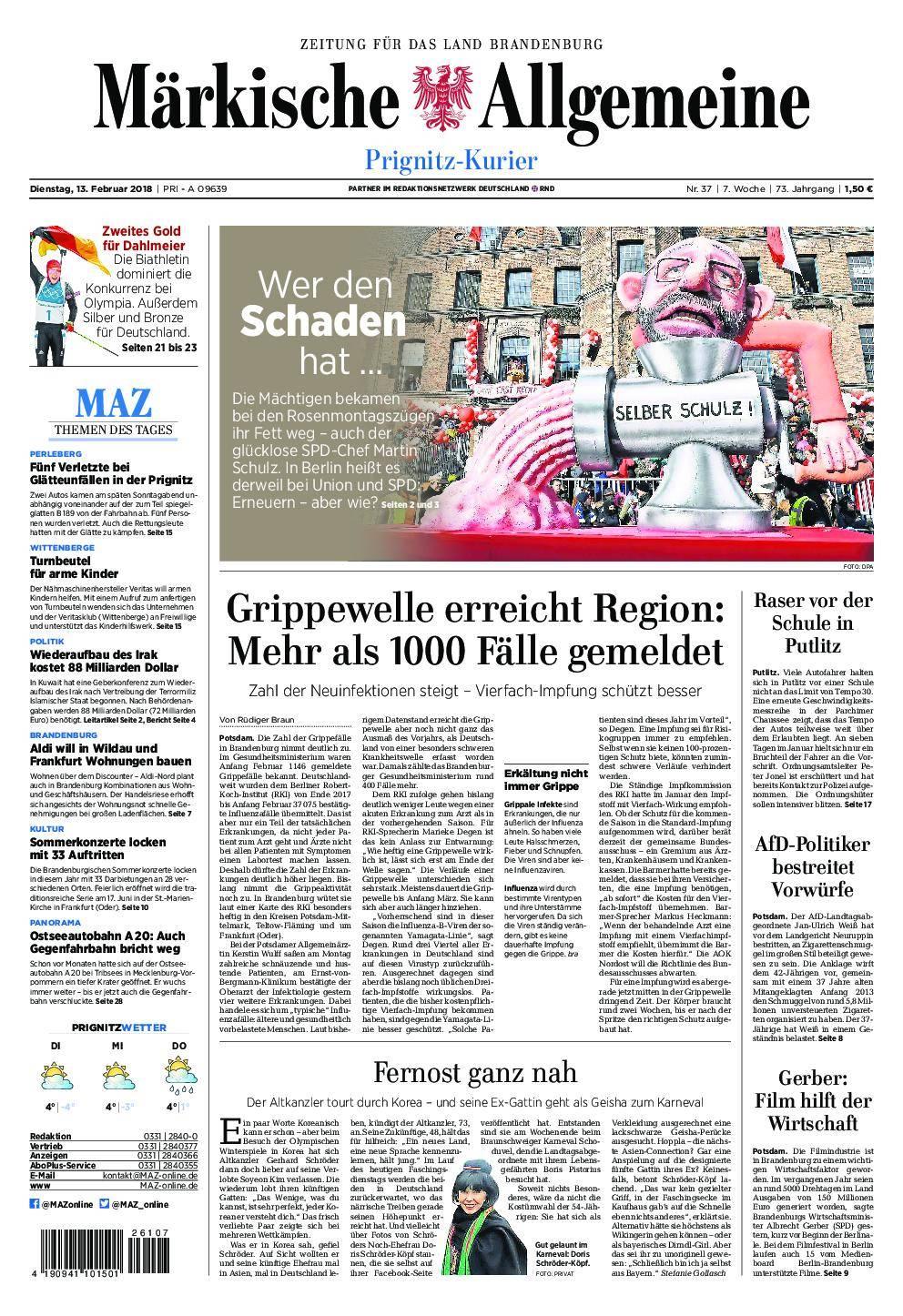 Märkische Allgemeine Prignitz Kurier - 13. Februar 2018
